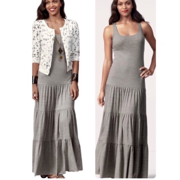 df29fe4755 CAbi Dresses & Skirts - Cabi Resort Tiered Grey maxi dress
